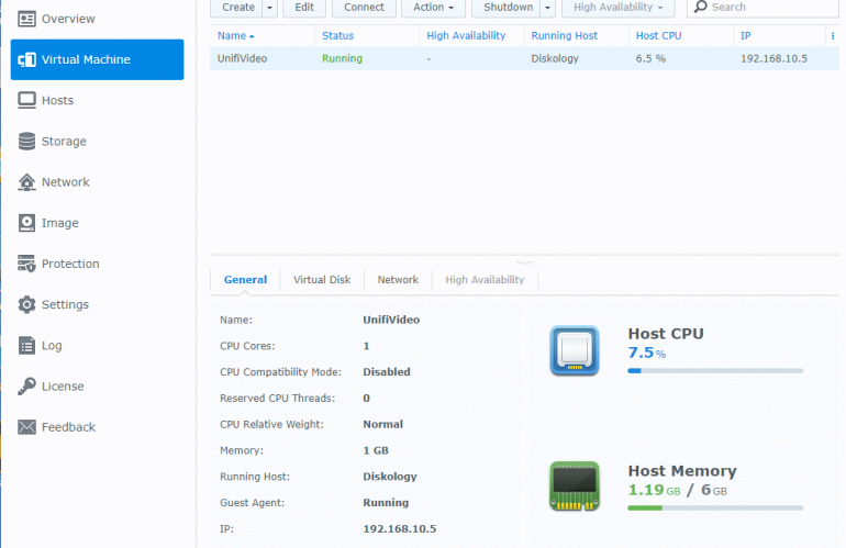 Unifi Video VM on Synology NAS